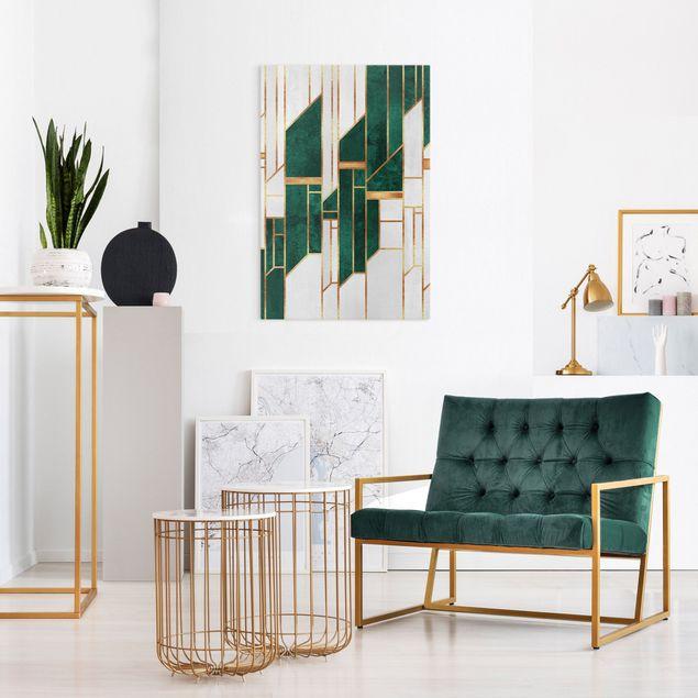 Leinwandbild - Elisabeth Fredriksson - Emerald und Gold Geometrie - Hochformat 2:3