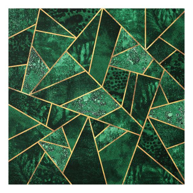 Glas Spritzschutz - Dunkler Smaragd mit Gold - Quadrat - 1:1