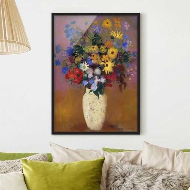 Bild mit Rahmen - Odilon Redon - Blumen in einer Vase - Hochformat 3:4