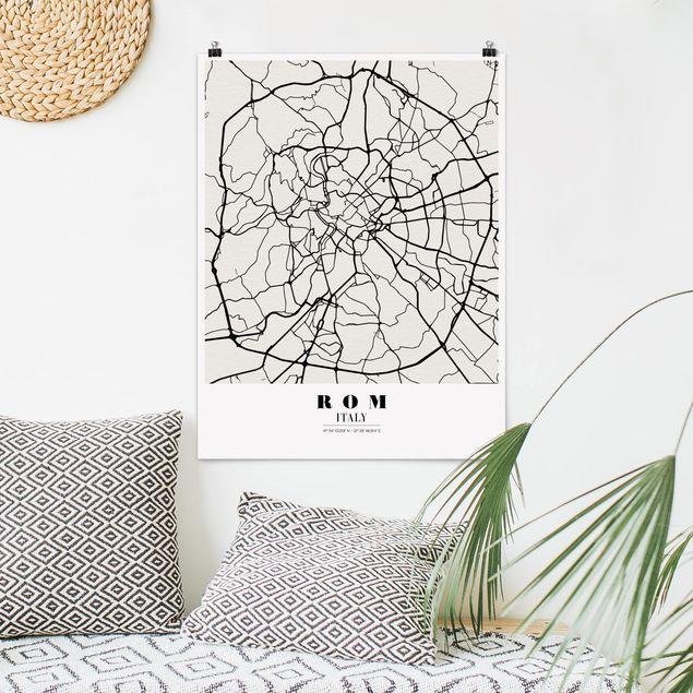 Poster - Stadtplan Rom - Klassik - Hochformat 3:4