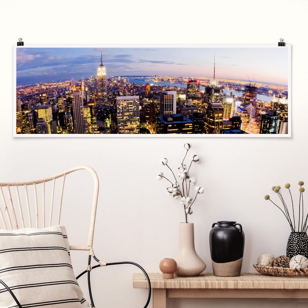 Poster - New York Skyline bei Nacht - Panorama Querformat