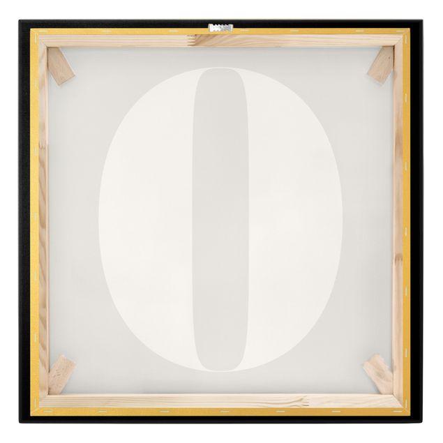 Leinwandbild Gold - Antiqua Zahl 0 - Quadrat 1:1