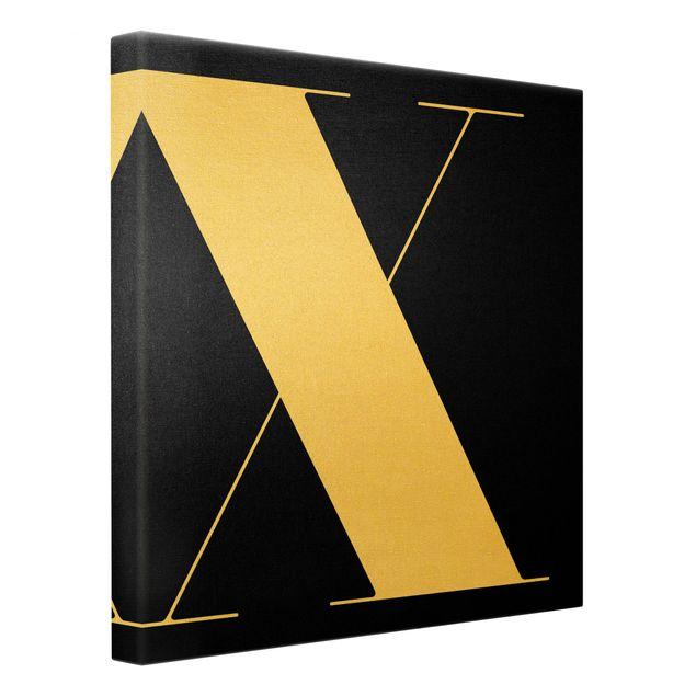Leinwandbild Gold - Antiqua Letter X Schwarz - Quadrat 1:1