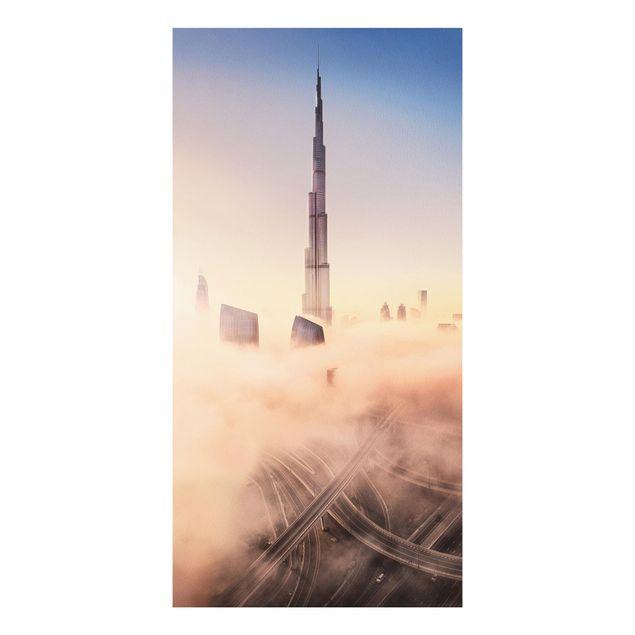 Forex Fine Art Print - Himmlische Skyline von Dubai - Hochformat 2:1