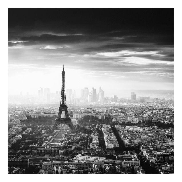 Forex Fine Art Print - Der Eiffelturm von Oben Schwarz-weiß - Quadrat 1:1