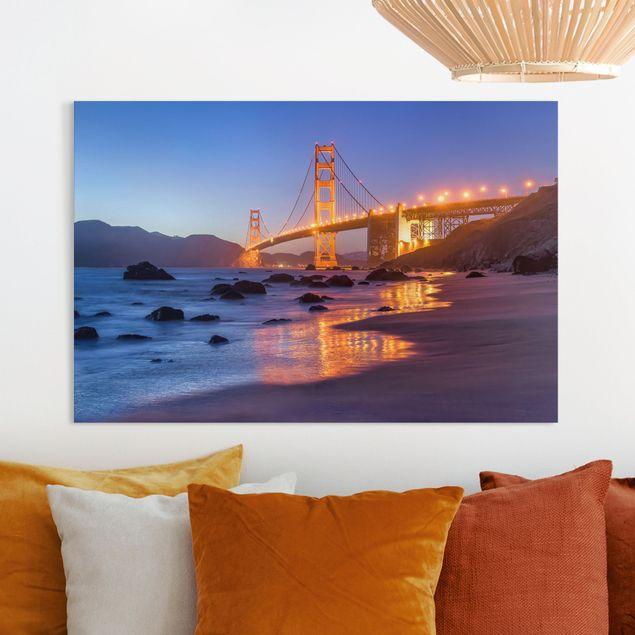Leinwandbild - Golden Gate Bridge am Abend - Querformat 3:2