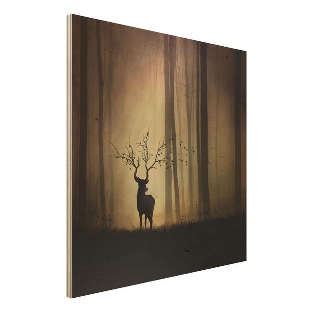 Holzbild - Der Herr des Waldes - Quadrat 1:1