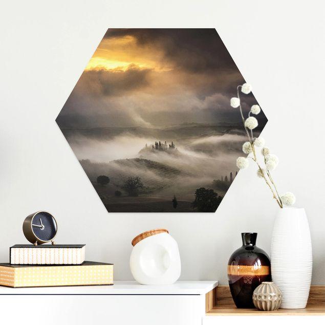 Hexagon Bild Alu-Dibond - Nebelwellen