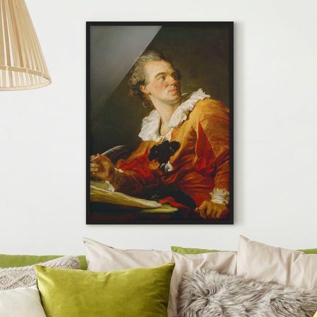 Bild mit Rahmen - Jean Honoré Fragonard - Die Inspiration - Hochformat 3:4