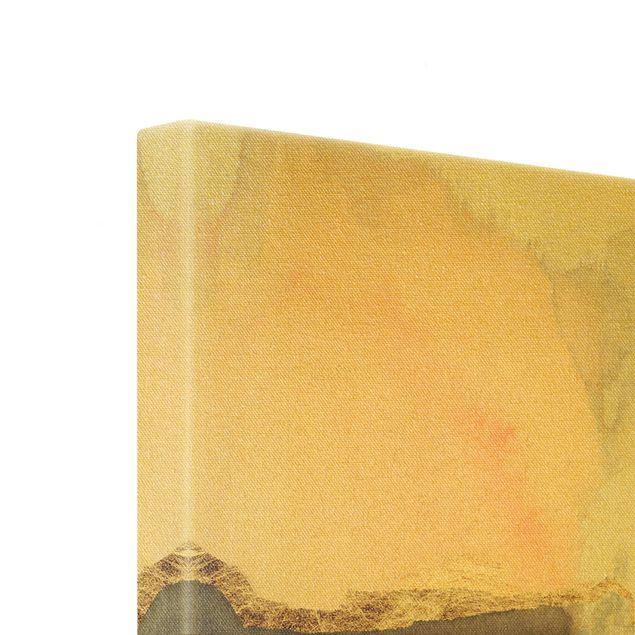 Leinwandbild Gold - Aquarell Goldene Spitze I - Quadrat 1:1