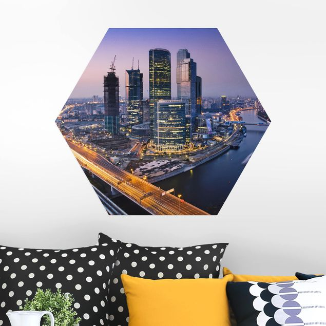 Hexagon Bild Alu-Dibond - Sonnenuntergang über Moskau