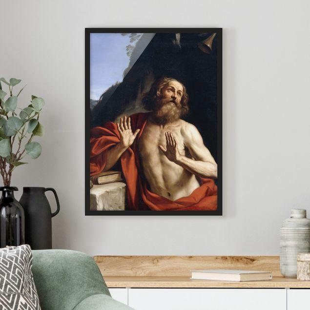 Bild mit Rahmen - Guercino - Der heilige Hieronymus - Hochformat 3:4
