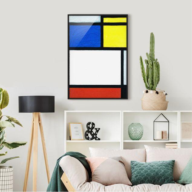 Bild mit Rahmen - Piet Mondrian - Tableau No. 1 - Hochformat 3:4