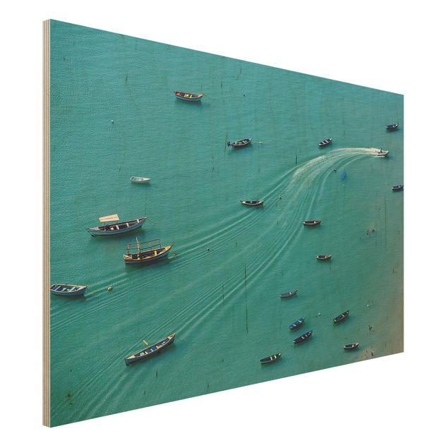 Holzbild - Ankernde Fischerboote - Querformat 2:3