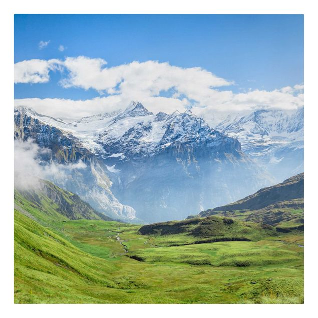 Leinwandbild - Schweizer Alpenpanorama - Quadrat 1:1