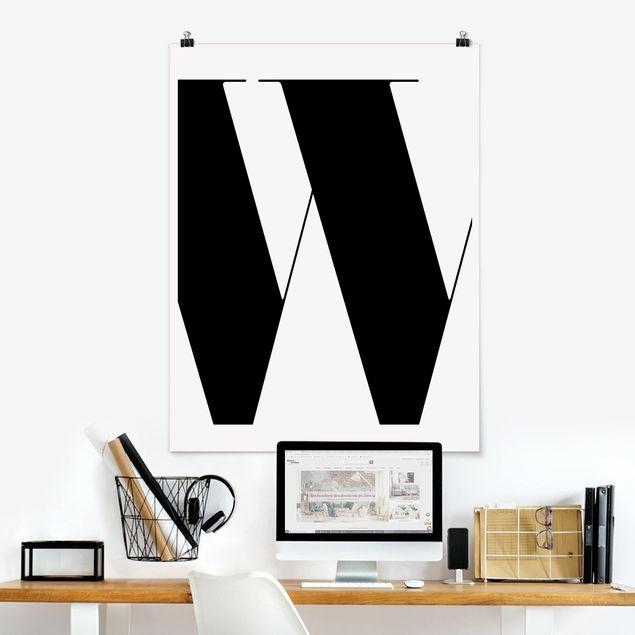 Poster - Antiqua Letter W - Hochformat 3:4
