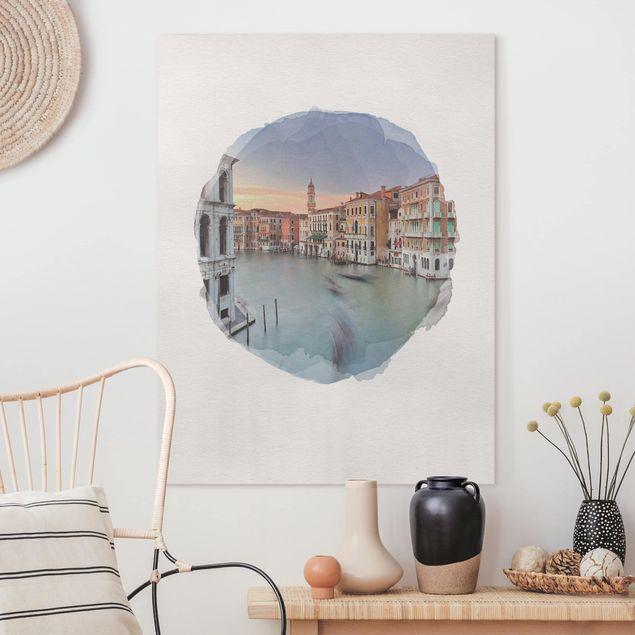 Leinwandbild - Wasserfarben - Canale Grande Blick von der Rialtobrücke Venedig - Hochformat 4:3