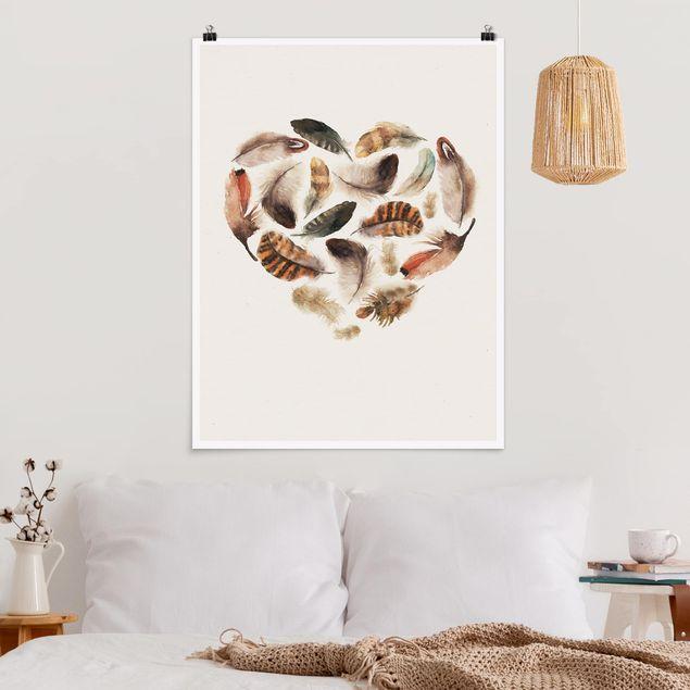 Poster - Herz aus Federn - Hochformat 3:4