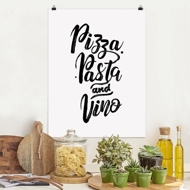 Poster - Pizza Pasta und Vino - Hochformat 3:4
