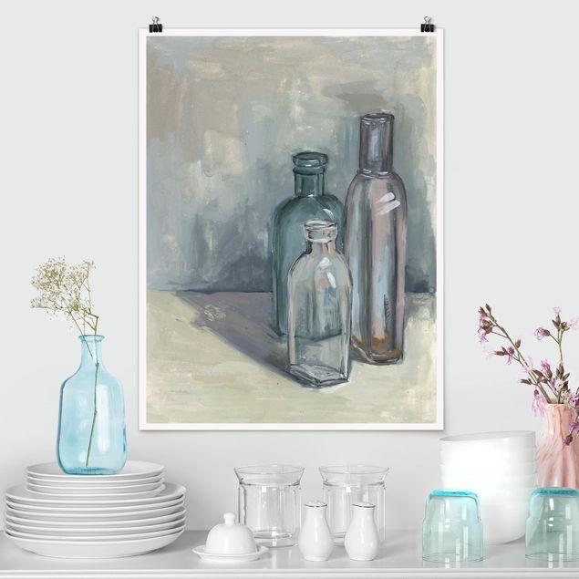 Poster - Stillleben mit Glasflaschen I - Hochformat 3:4