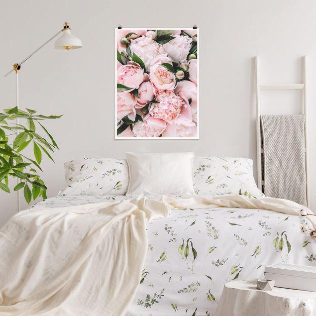 Poster - Rosa Pfingstrosen mit Blättern - Hochformat 4:3