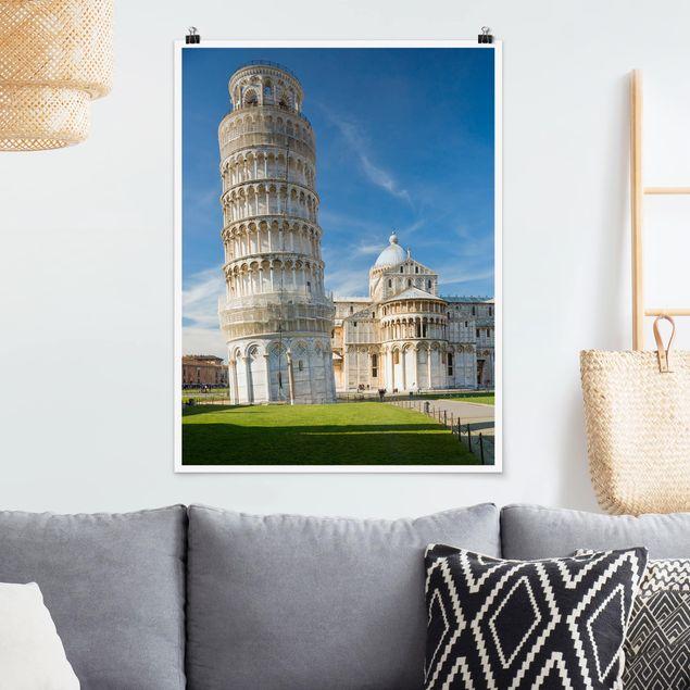 Poster - Der schiefe Turm von Pisa - Hochformat 3:4