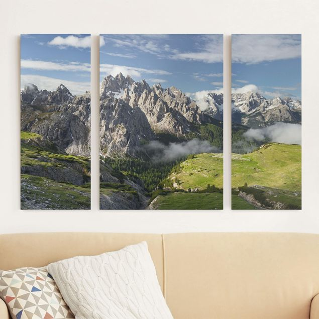 Leinwandbild 3-teilig - Italienische Alpen - Triptychon
