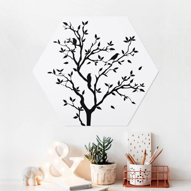 Hexagon Bild Forex - No.YK14 Zwitschernder Baum
