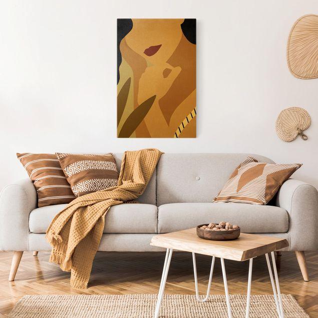 Leinwandbild Gold - Illustration Frauenportrait - Hochformat 2:3