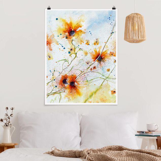 Poster - Painted Flowers - Hochformat 3:4