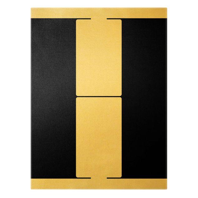 Leinwandbild Gold - Antiqua Letter H - Hochformat 3:4