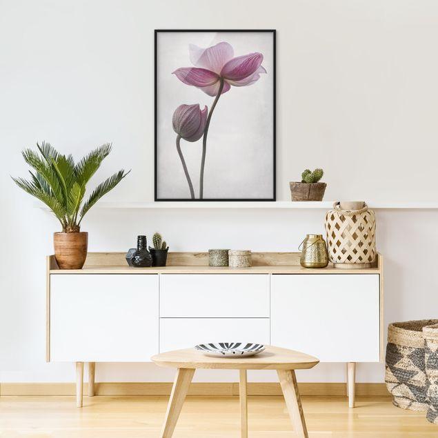 Bild mit Rahmen - Anemonen in rosa - Hochformat 3:4
