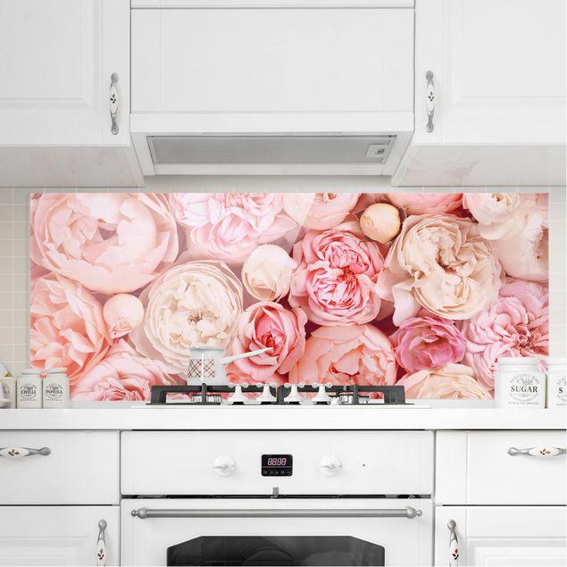 Spritzschutz Glas - Rosen Rosé Koralle Shabby - Panorama - 5:2