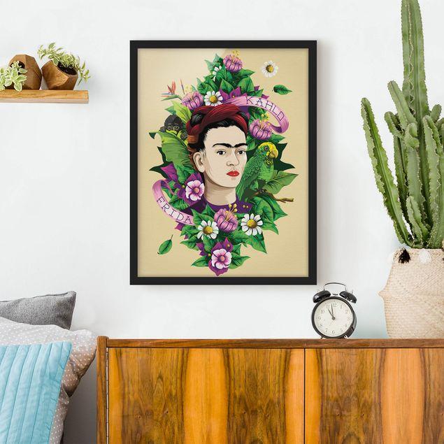 Bild mit Rahmen - Frida Kahlo - Frida, Äffchen und Papagei - Hochformat 3:4
