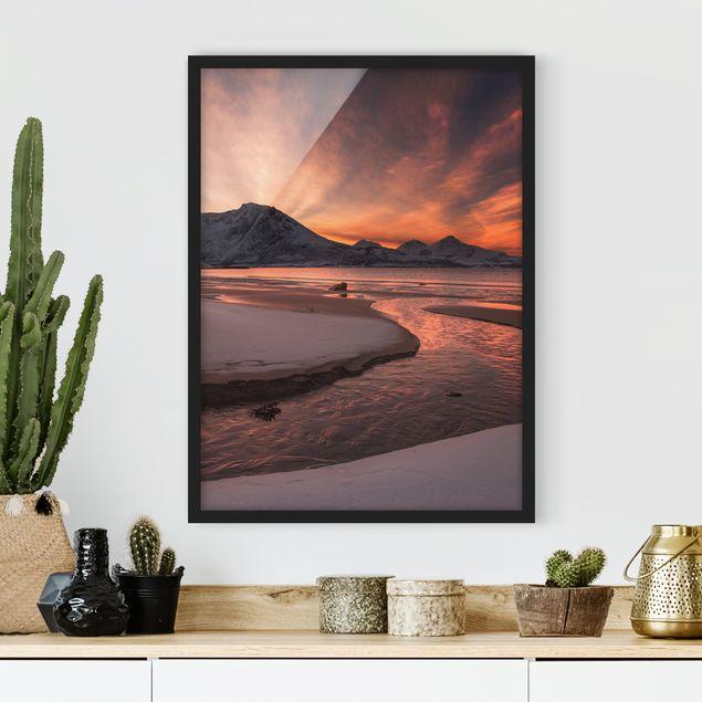 Bild mit Rahmen - Goldener Sonnenuntergang - Hochformat 3:4