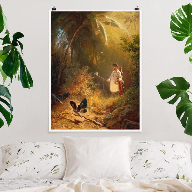 Poster - Carl Spitzweg - Der Schmetterlingsfänger - Hochformat 3:4