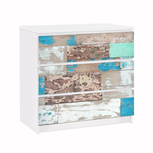 Möbelfolie für IKEA Malm Kommode - Klebefolie Maritime Planks
