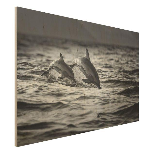 Holzbild - Zwei springende Delfine - Querformat 2:3
