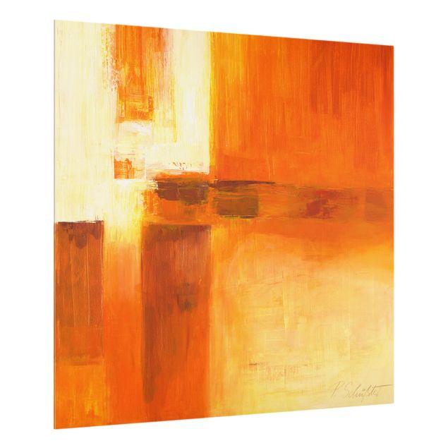 Glas Spritzschutz - Komposition in Orange und Braun 01 - Quadrat - 1:1