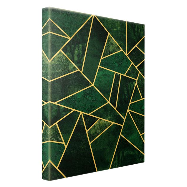 Leinwandbild Gold - Goldene Geometrie - Dunkles Türkis - Hochformat 2:3