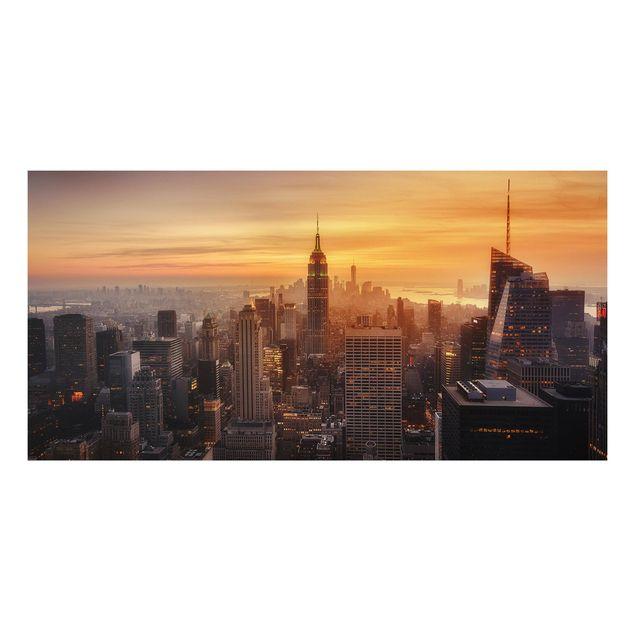 Forex Fine Art Print - Manhattan Skyline Abendstimmung - Querformat 1:2