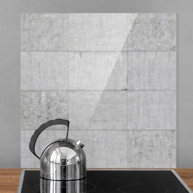 Glas Spritzschutz - Beton Ziegeloptik grau - Quadrat - 1:1