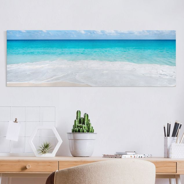 Leinwandbild - Blaue Welle - Panorama 3:1