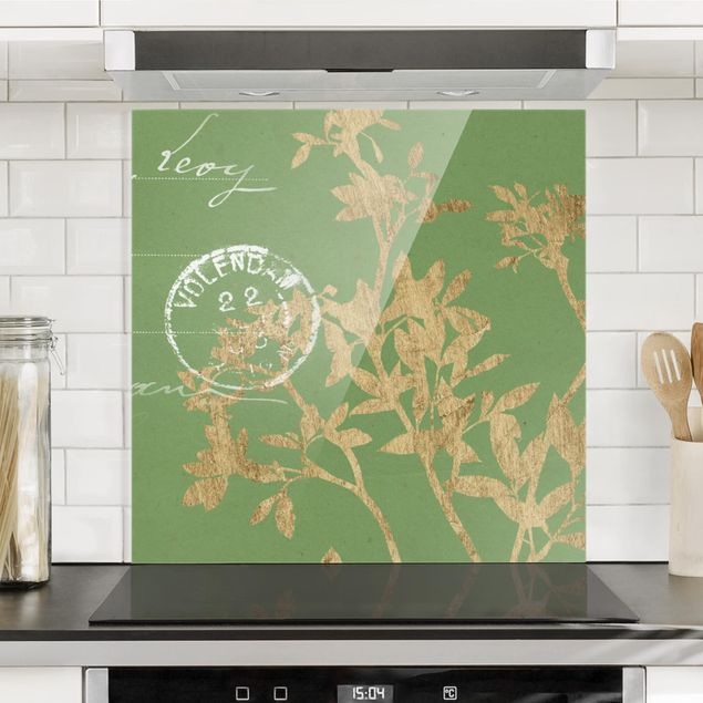 Glas Spritzschutz - Goldene Blätter auf Lind II - Quadrat - 1:1