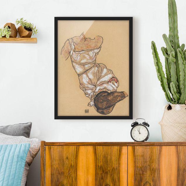 Bild mit Rahmen - Egon Schiele - Weiblicher Torso in Unterwäsche - Hochformat 3:4