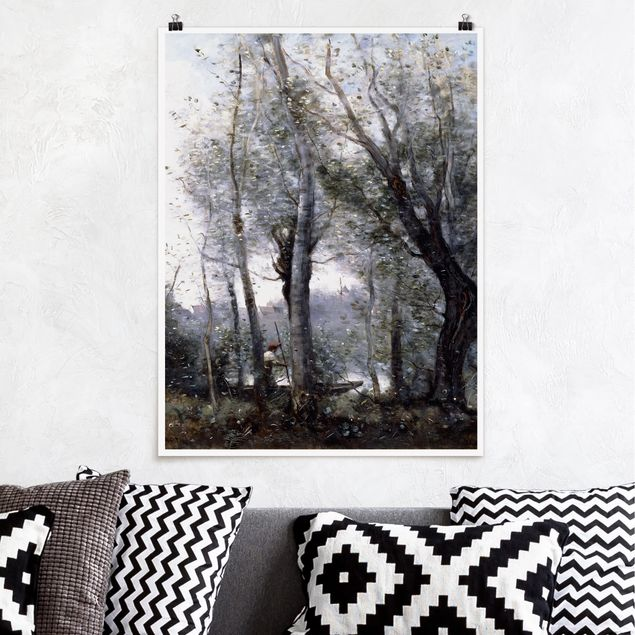 Poster - Jean-Baptiste Camille Corot - Ein Flussschiffer - Hochformat 3:4