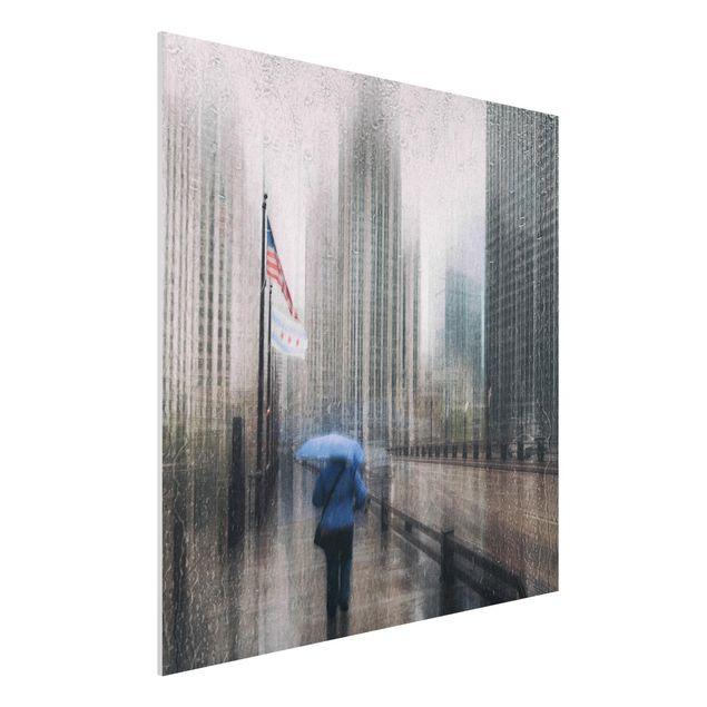 Forex Fine Art Print - Verregnetes Chicago - Quadrat 1:1