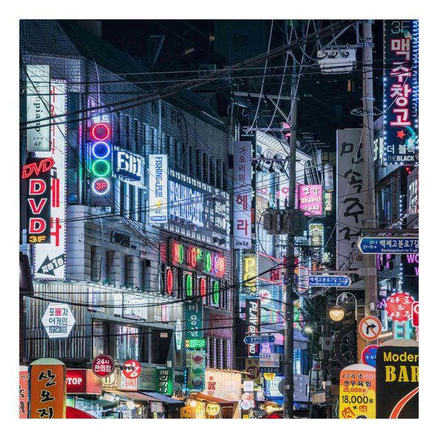 Leinwandbild - Nachtleben von Seoul - Quadrat 1:1