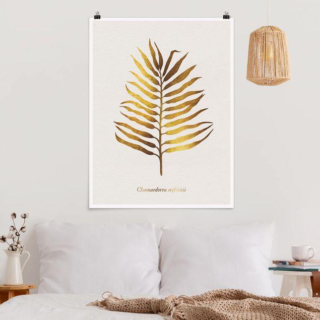 Poster - Gold - Palmenblatt II - Hochformat 4:3