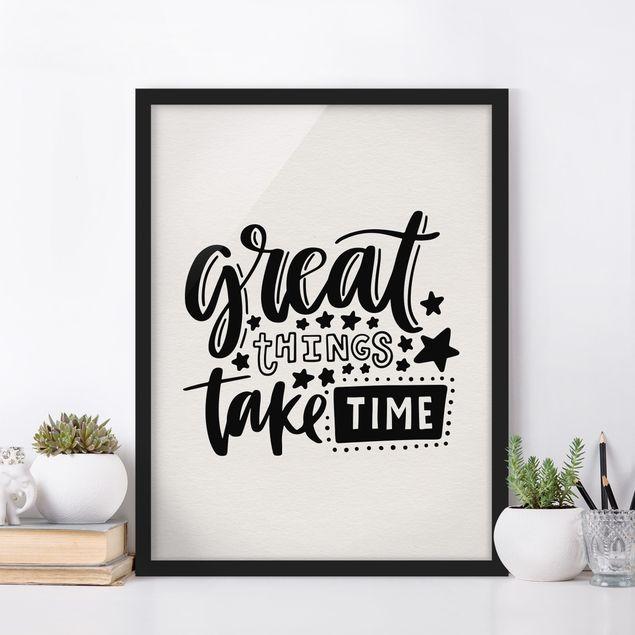 Bild mit Rahmen - Great things take time - Hochformat 3:4